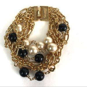 St. John Faux Onyx & Pearl Gold Bracelet